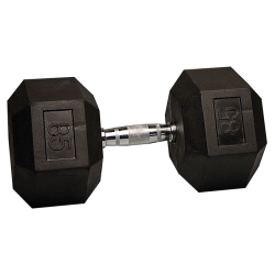 85 Lb Rubber Hex Dumbbell