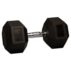 70 Lb Rubber Hex Dumbbell